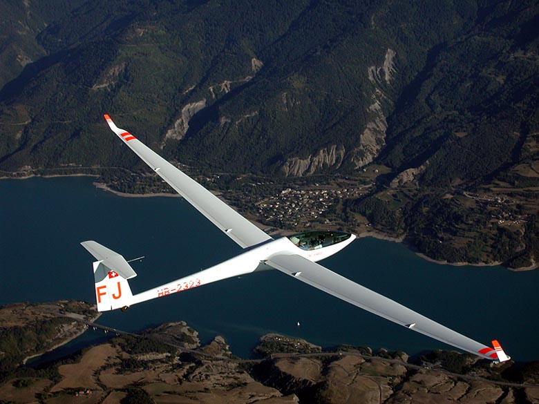 Glider Plane flying in the French Alps